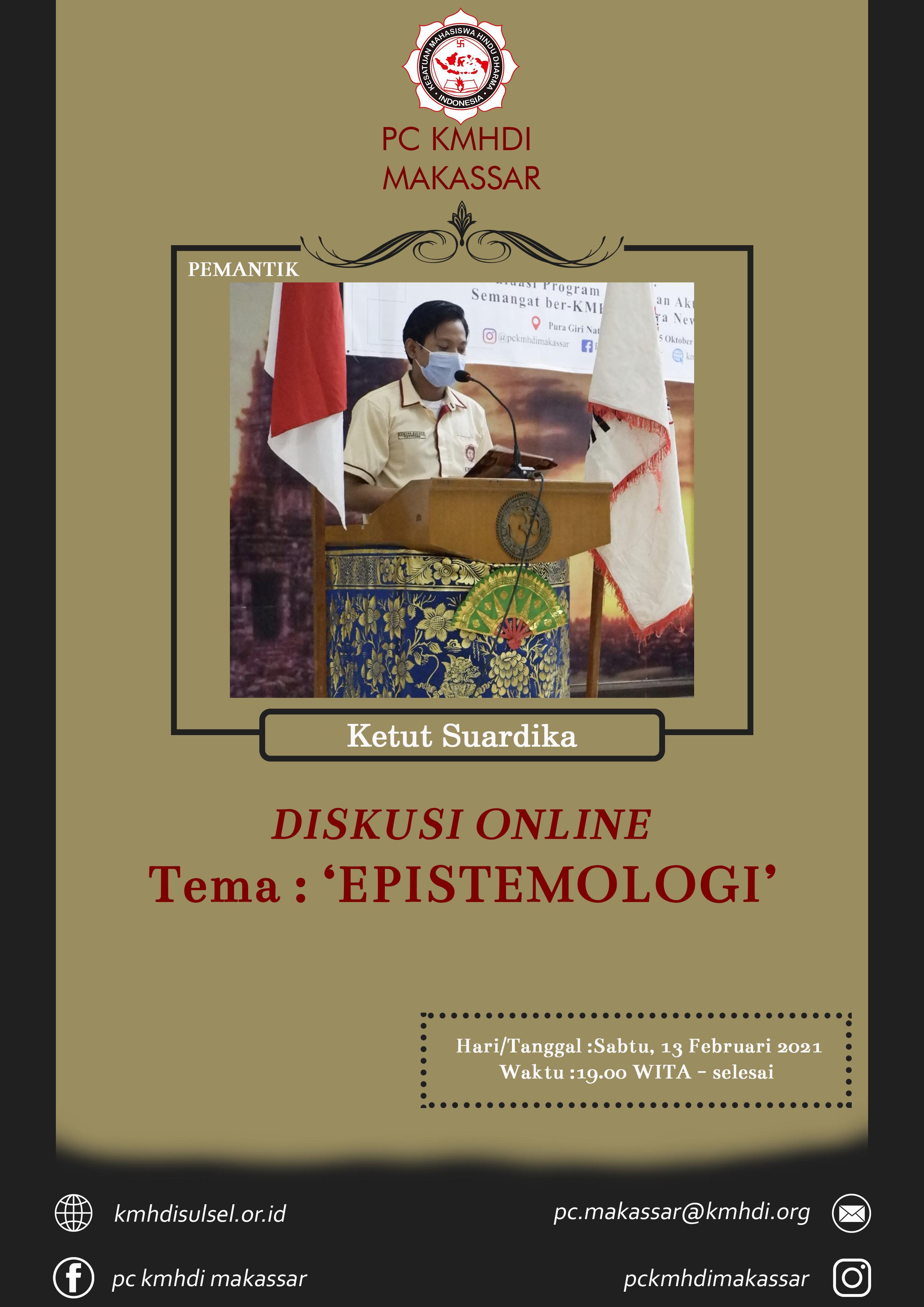 PC KMHDI Makassar Gelar Diskusi Online Tentang EPISTEMOLOGI